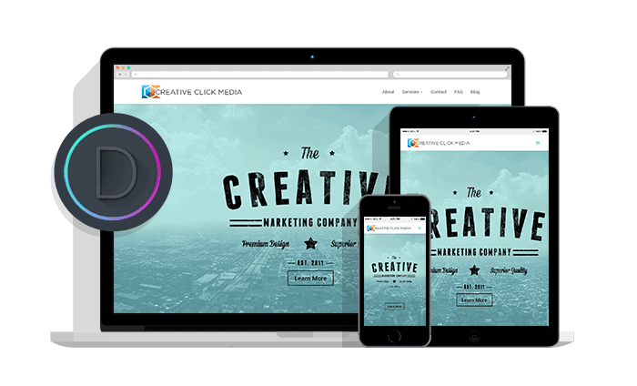 creative click media is made with divi by elegant themes