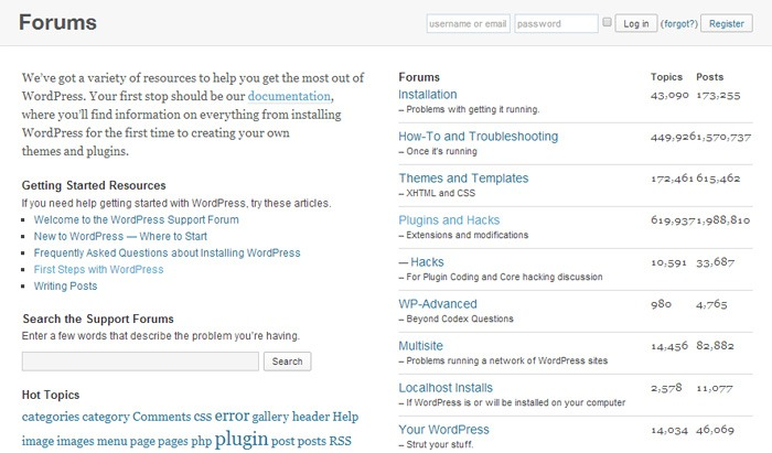 Support for WordPress