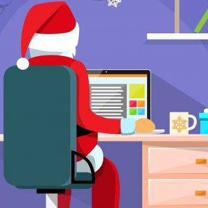 Santa Claus Sitting Desk
