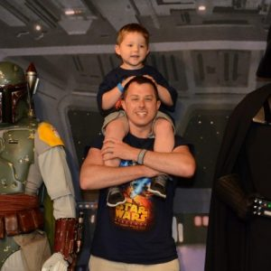 Creative Click Media Founder and Lead Designer, Adam Binder, with his son at Walt Disney World