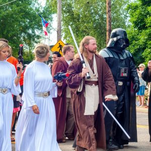 Fans dressed as Star Wars characters