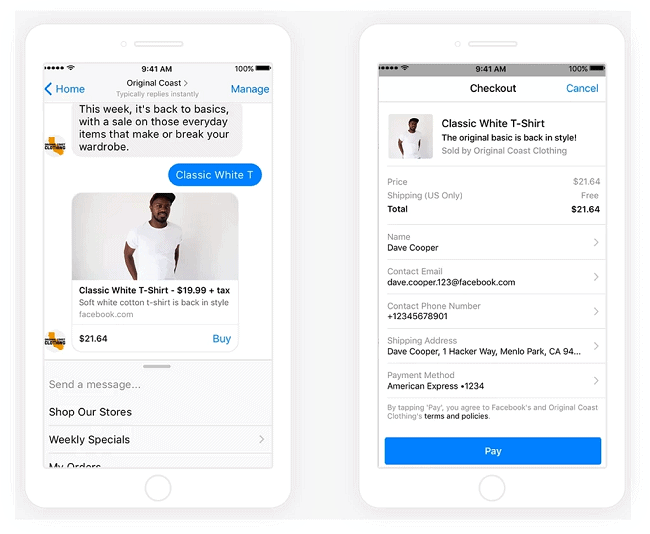facebook messenger purchases